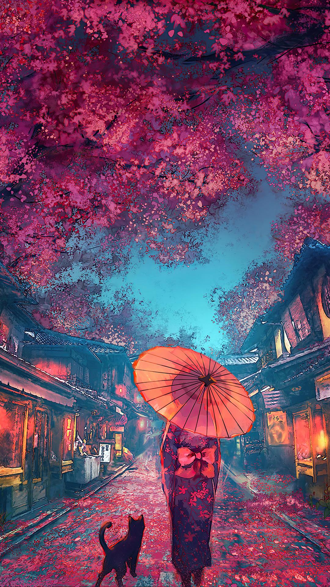 Beautiful Anime Street Scenery Cherry Blossom Kimono 4k Wallpaper 6 1621