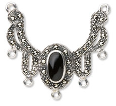 Sterling Silver and Marcasite Focal with Black Onyx