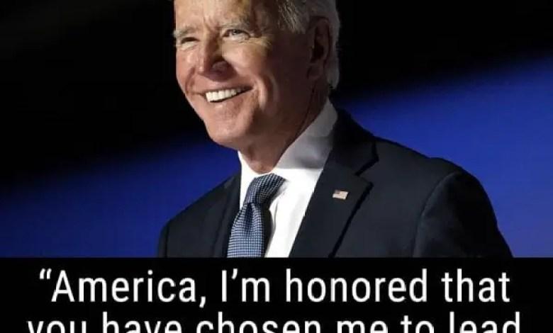 Joe Biden félicite le peuple américain d'avoir fait choix de lui, comme Président - Joe Biden