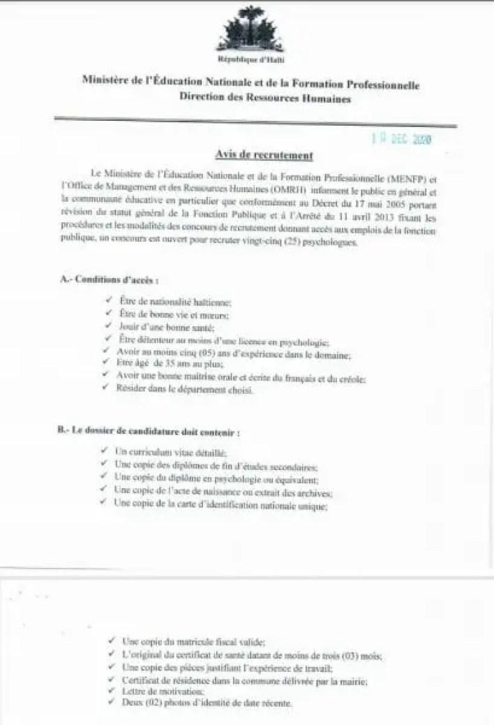 Offre d'emploi : le MENFP cherche à recruter 25 psychologues - emploi, Haïti, MENFP, psychologues