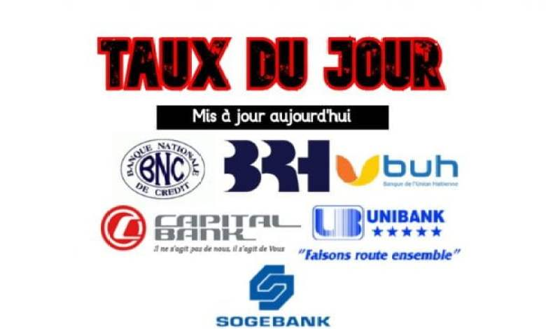 Le taux du jour en Haïti : Unibank, Sogebank, BNC, BUH, BRH ce 5 fevrier 2021 -