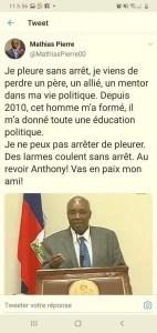 Mathias Pierre pleure le départ d'un mentor. -