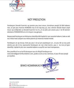 La fondation Donald Guerrier clarifie la question des 20.000 lits. - Constitution, Donald Trump, Haïti