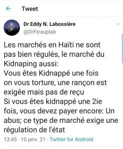 Le Dr EddyLabossière plaide enfaveurde la peine demorten Haïti. - Eddy Labossiere
