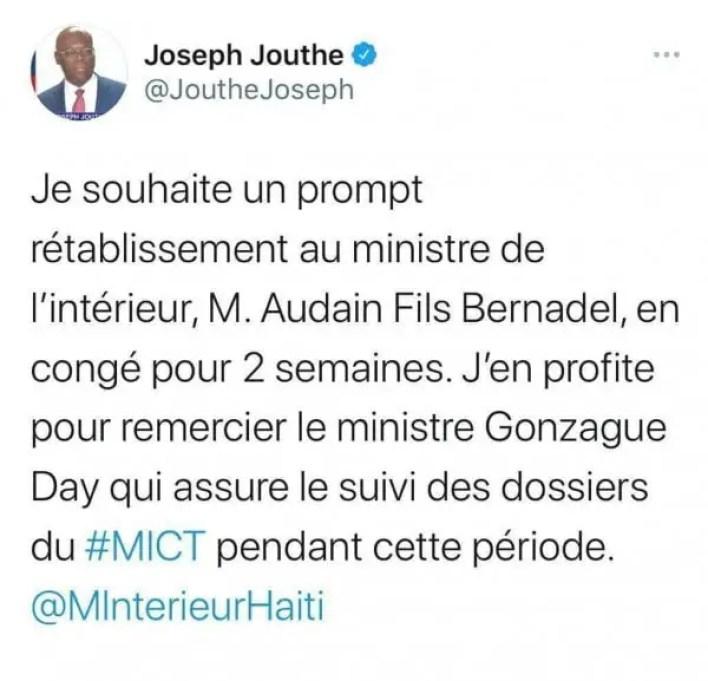 Louis Gonzague Edner Day nommé ministre de l'intérieur par intérim - Gonzague Edner Day