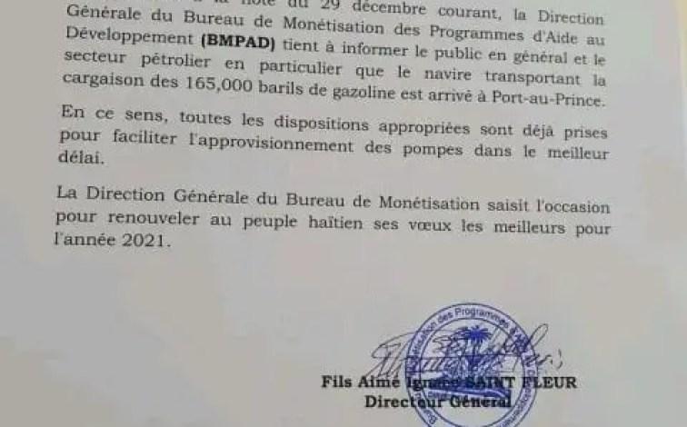 Arrivage de 165,000 barils de pétrole à Port-au-Prince, ce 2 Janvier, annonce le BMPAD - BMPAD