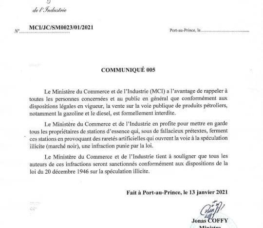 Le Ministère du Commerce et de l'Industrie (MCI), interdit la vente de produits pétroliers sur la voie publique - Carburant, mci
