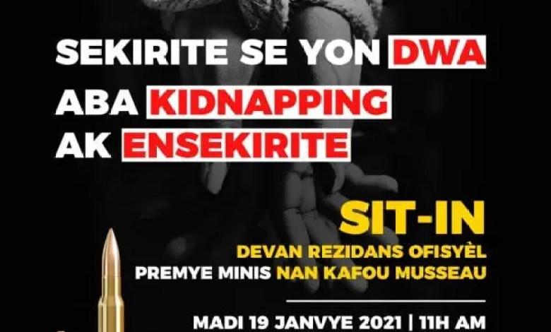 Sit-in devant la résidence officielle du Premier ministre le 19 janvier 2021 pour dénoncer le kidnapping - Kidnapping