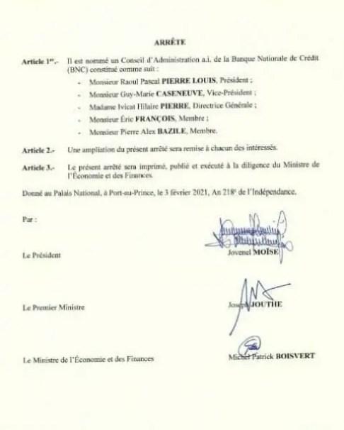 Un nouveau Conseil d'administration a.i nommé à la tête de la BNC (ARRÊTÉ) - BNC