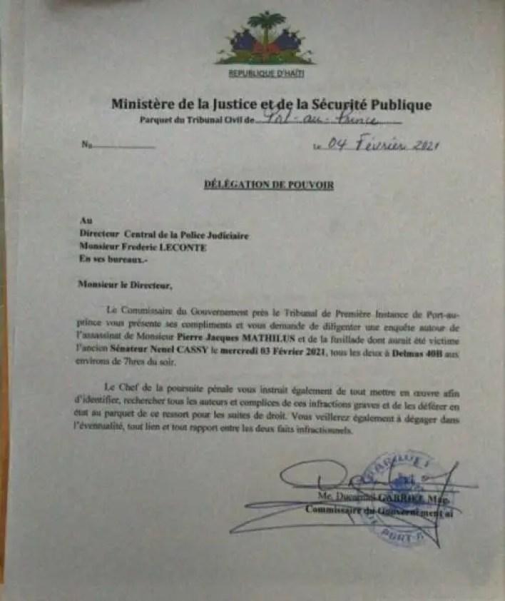 Le Commissaire du Gouvernement de Port-au-Prince exige une enquête sur la mort de Pierre Jacques Mathilus - Pierre Jacques Mathilus