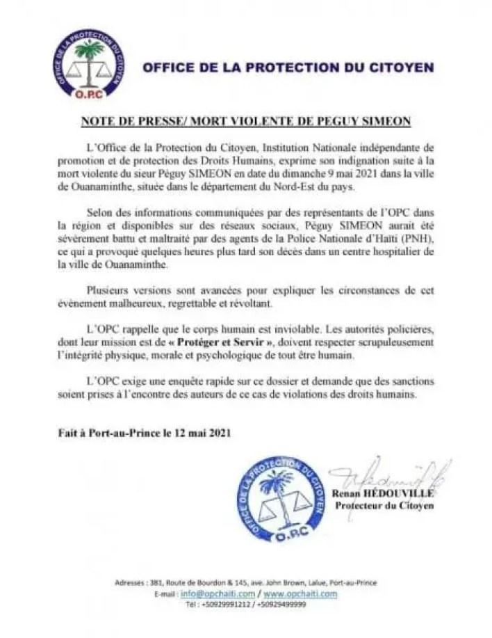 Affaire Péguy Siméon: l'OPC exige une enquête et des sanctions - Péguy Siméon