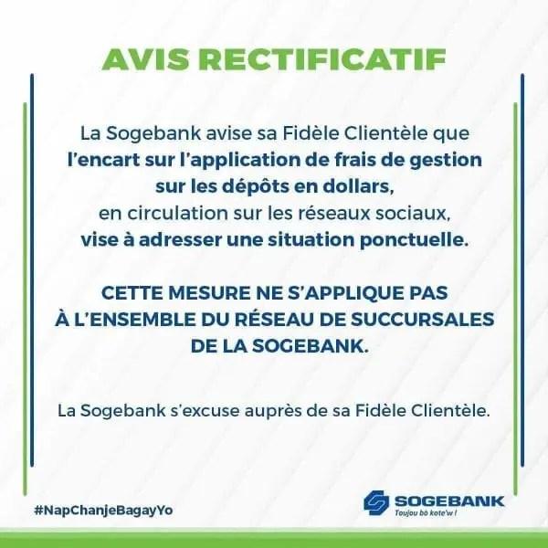 Certaines succursales de la SOGEBANK prélèvent des frais sur les dépôts en cash de plus de 1000 dollars - Sogebank