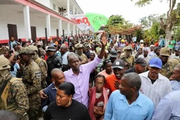 Lors d'une visite du feu président Jovenel Moïse à la Vallée de Jacmel, le samedi 15 février 2020