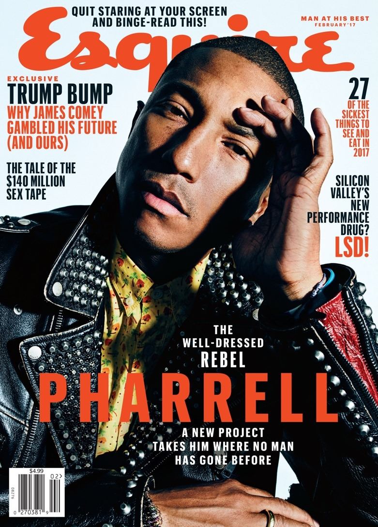ESQUIRE MAGAZINE Pharrell by Mario Sorrenti. February 2017, www.imageamplified.com, Image amplified