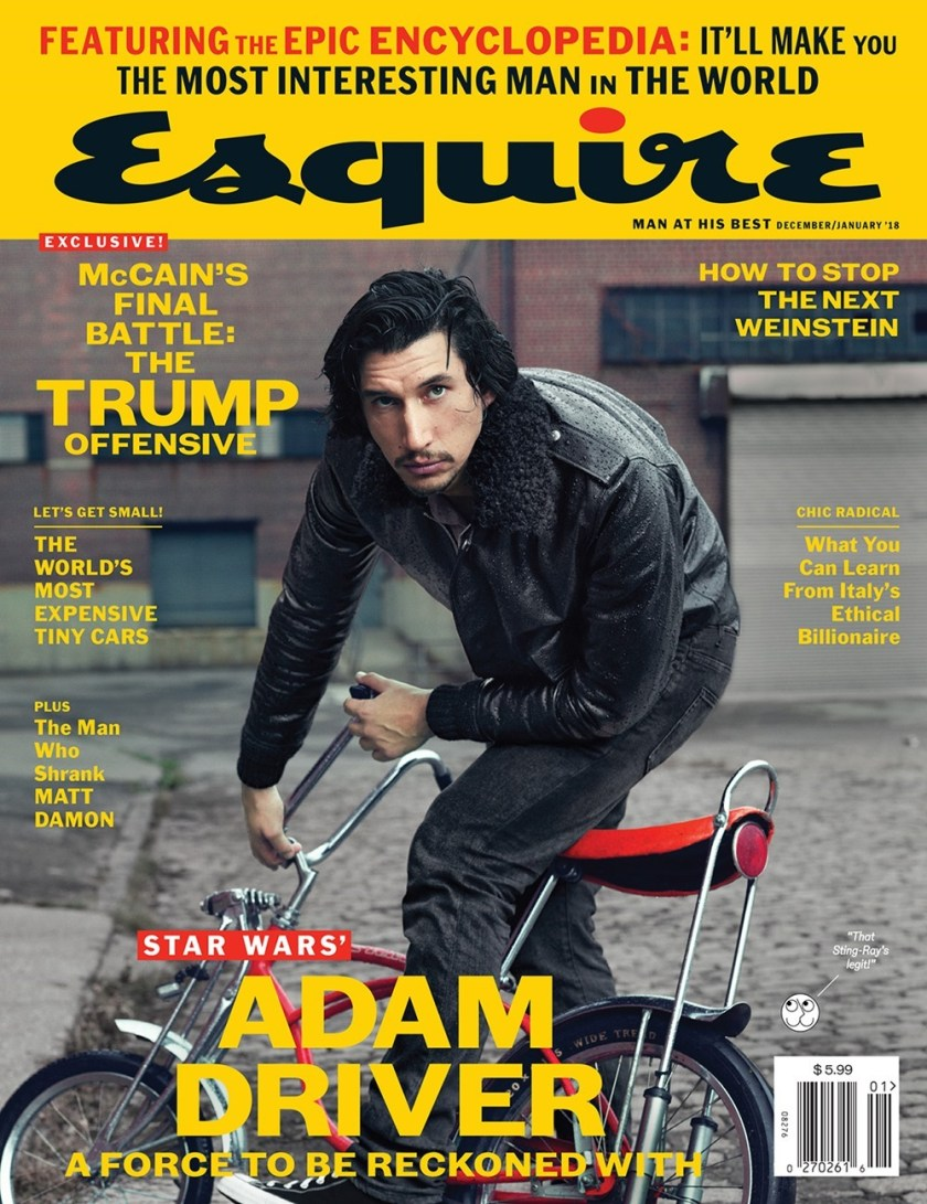 ESQUIRE MAGAZINE Adam Driver by Norman Jean Roy. Matthew Marden, December 2017, www.imageamplified.com, Image Amplified2