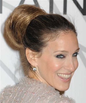 Sarah Jessica Parker high updo bun hairstyle chanel party