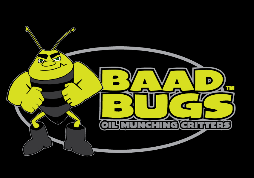 """Baad Bugs - A brand created for a revolutionary """"oil eating"""" product. Hand drawn character vectorized in Illustrator."""