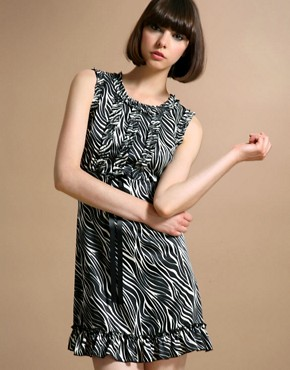 Satin Frill Zebra Dress