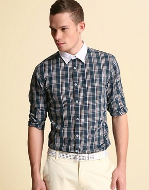 ASOS Check Shirt With Contrast Collar