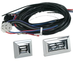 Flat Glass Power Window Kit For 2 Doors With GM Style Chrome 3 Switch & Harness, Bob's Classic