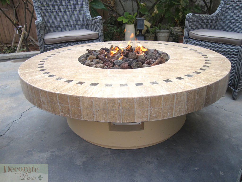 Gas Fireplace Fire Pit Outdoor Marble Mosaic Lava Rocks 19