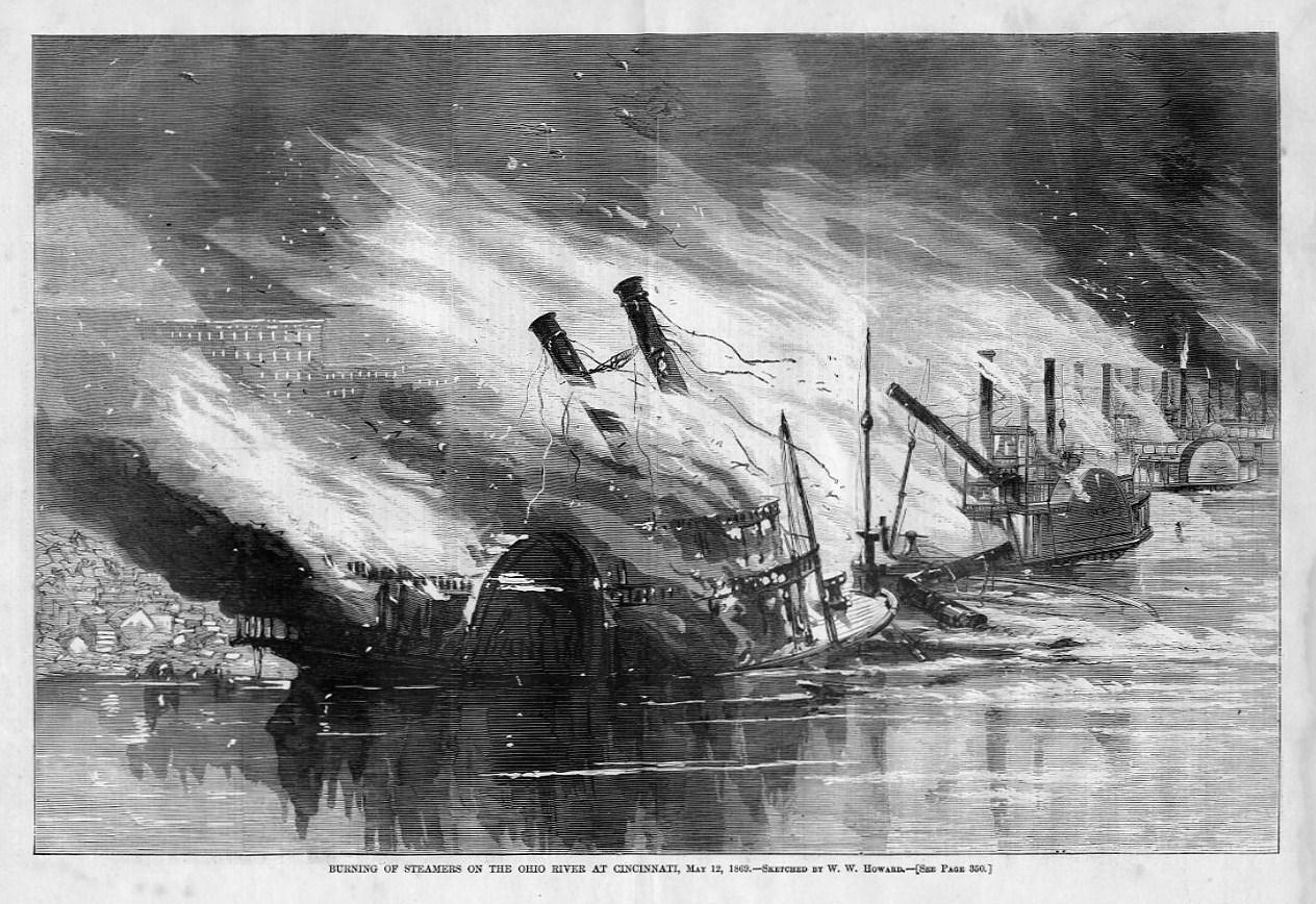 Steamers Burning Ohio River At Cincinnati Steamboat Fire