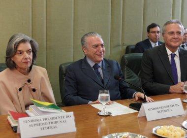 Cármen Lúcia, Renan Calheiros e Alexandre de Moraes se reúnem após troca de farpas
