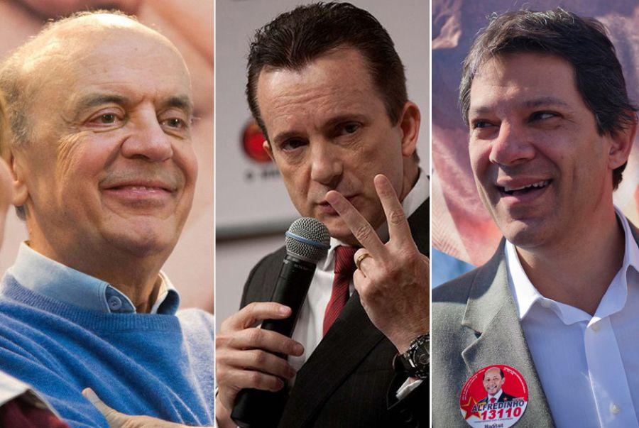 Serra, Russomanno e Haddad ocupam os três primeiros lugares nas intenções de votos em SP / Montagem Divulgação e Folhapress