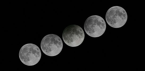 Imagem mostra a sequência de um eclipse penumbral da lua. Foto: Reprodução/Observatório de Hong Kong