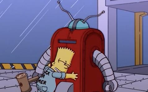Bart abraça Homer, quer dizer, o robô após luta /