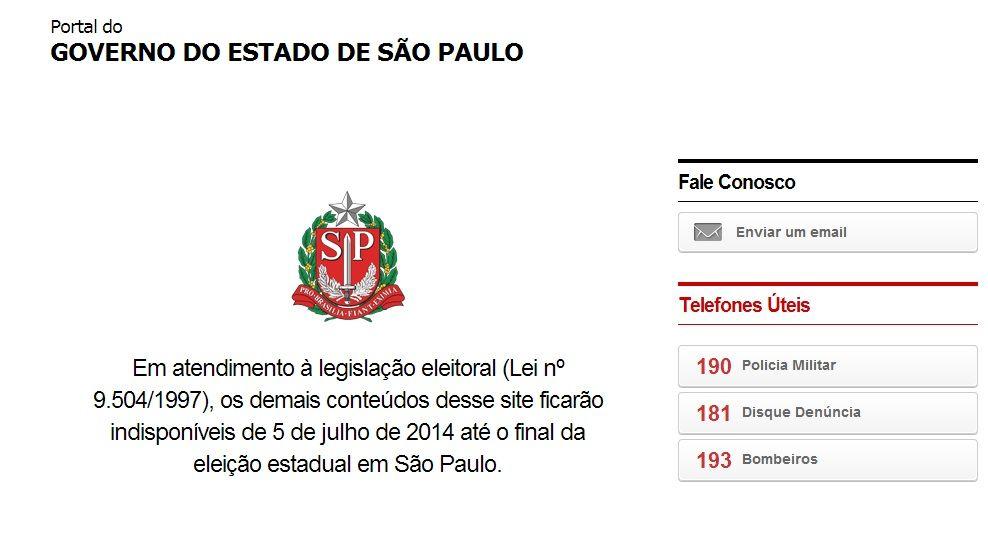 Página do Governo de São Paulo anuncia que vai parar de ser atualizada até as eleições / Reprodução/site do Governo de São Paulo
