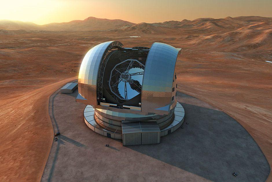 Modelo computadorizado do E-ELT, que terá mais de 80 metros de altura e um espelho de 39 metros de diâmetro / ESO/L. Calçada