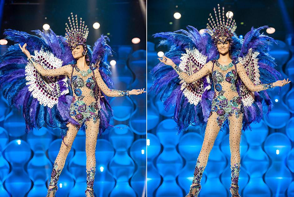 Miss Piauí, Verbiany Leal, com seu traje em tons violáceos se inspirou nas jazidas de ametista