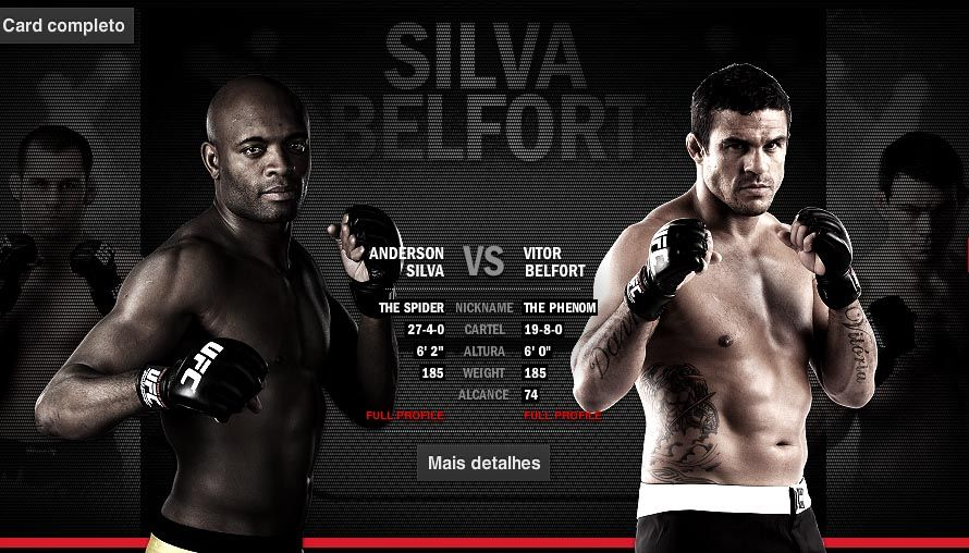 Silva e Belfort fazem uma das lutas mais aguardadas da história do UFC