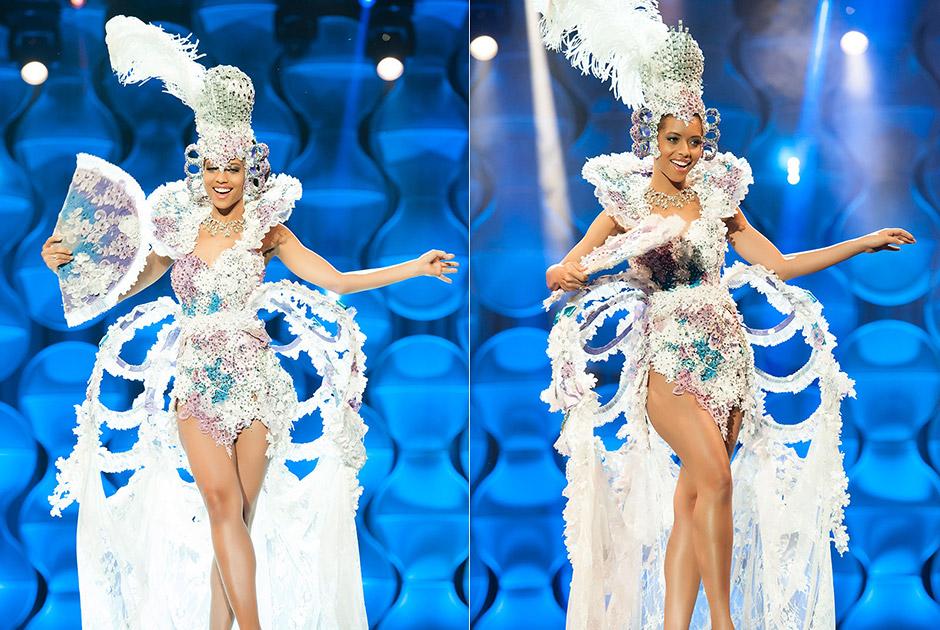 Miss Minas Gerais, Karen Porfiro, traz roupa confeccionada nos tons azul, lilás e branca que representa a escrava alforriada Chica da Silva