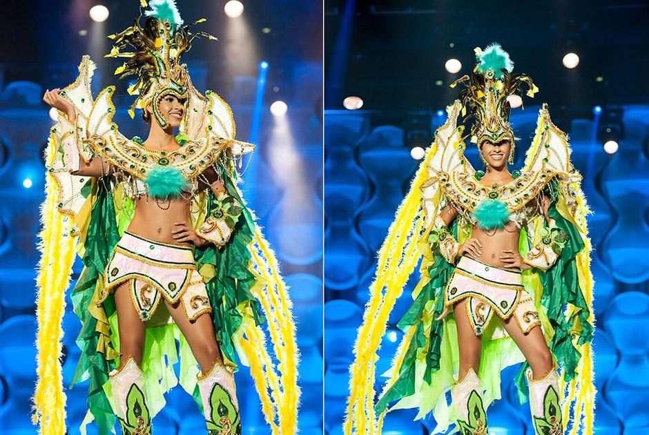 Miss Paraíba, Larissa Muniz, exalta com seu traje a natureza e o brilho do sol que nasce primeiro em seu Estado