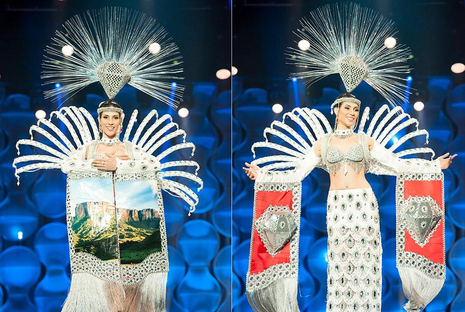 Miss Roraima, Marina Pasqualotto, tem traje que representa a deusa guardiã dos diamantes do monte