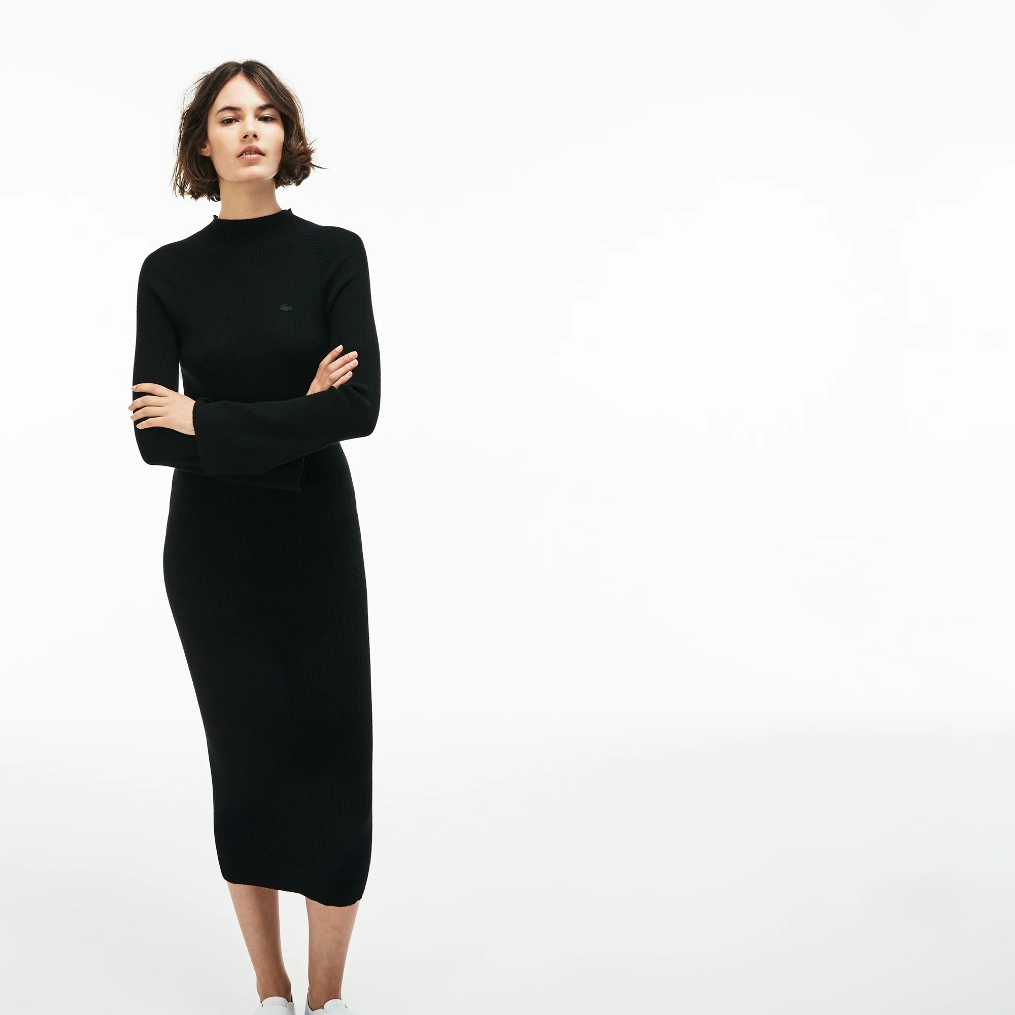 Dresses and Skirts   Women s Clothing   LACOSTE Women s LIVE Close Fitting Ribbed Cotton And Cashmere Dress