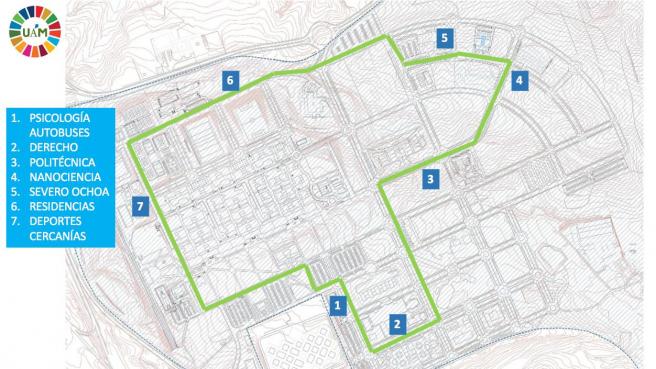 Plano del recorrido que hará el bus autónomo dentro del campus de Cantoblanco.