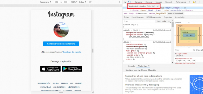 Para pasar a formato móvil has de picar en 'Toggle device toolbar'
