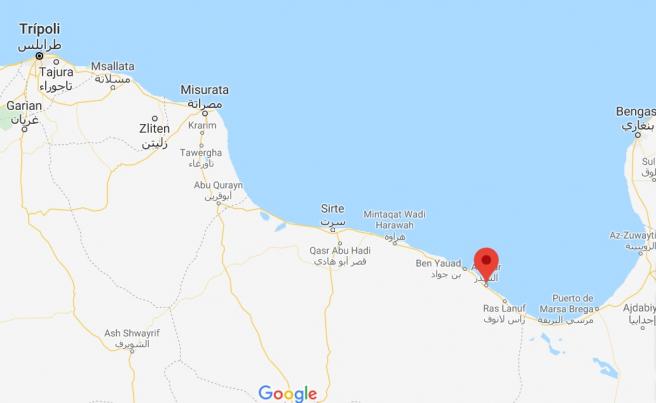 Sidra o As Sidr (en el punto rojo) está situada al este de Trípoli.