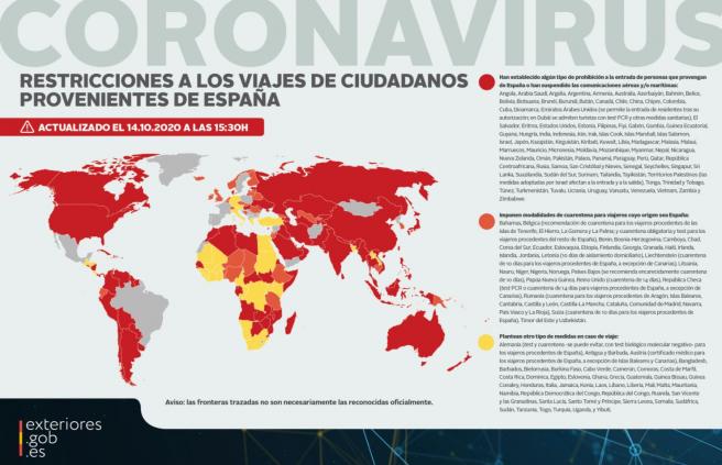 Países que actualmente imponen restricciones a los viajeros procedentes de España.