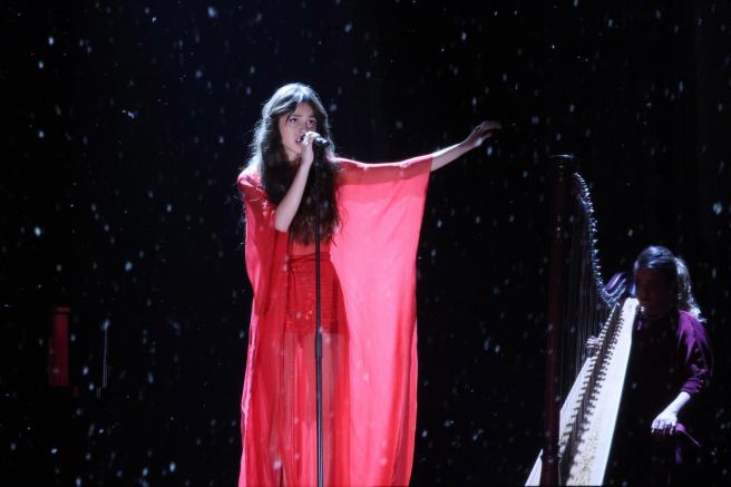 Olivia Rodrigo, durante su actuación en la ceremonia de los premios Brit 2021, en el O2 Arena de Londres.