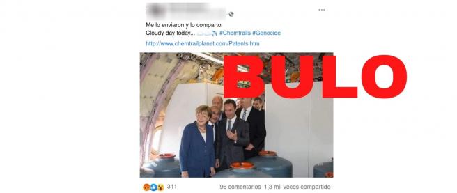 No, estas fotos de Angela Merkel en un avión lleno de bidones no son prueba de los chemtrails