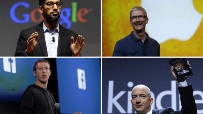 Sundar Pichai, Tim Cook, Mark Zuckerberg y Jeff Bezos