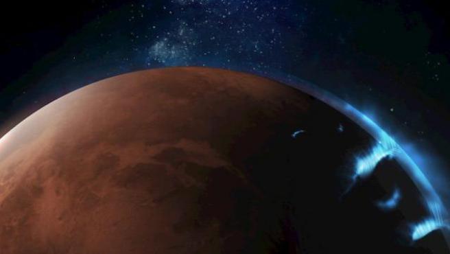 Fotografías 'únicas' de una aurora discreta en la atmósfera del lado nocturno de Marte.