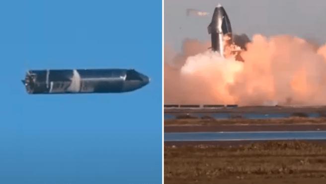 La nave Starship de SpaceX en pleno vuelo, y el momento en que explota al tocar tierra.