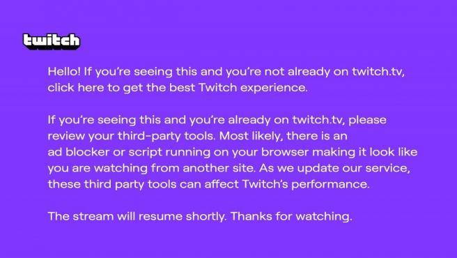 'El pantallazo morado de la muerte' de Twitch.