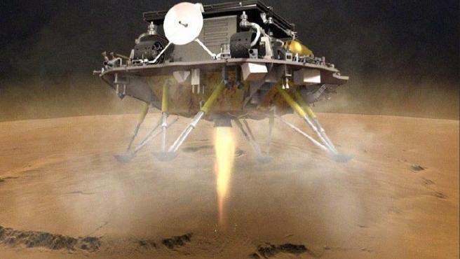 Recreación artística de la sonda china Tianwen-1 posándose sobre la superficie de Marte.