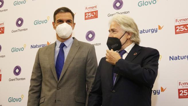 El presidente del Gobierno, Pedro Sánchez, este lunes en un acto en la patronal Foment del Treball, en Barcelona.